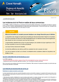 Principales incidences Loi Pinel - 10/2014